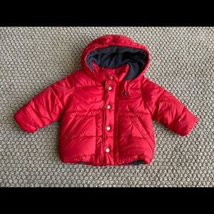 Baby Gap red Puffer Coat with Hood 12 months